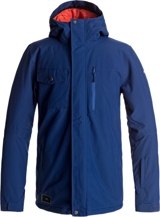 Куртка мужская Quiksilver Mission, цвет: темно-синий. EQYTJ03129-BSW0. Размер L (50)EQYTJ03129-BSW0Сноубордическая куртка Quiksilver Mission изготовлена из мембранной ткани (полиэстер простого плетения). В качестве утеплителя используется наполнитель Warmflight (тело 120 г, рукава 80 г, капюшон 60 г). Подкладка выполнена из тафты и трикотажа с начесом. Предусмотрены сеточные вставки в области подмышек. Все основные швы проклеены. Система пристегивания позволяет куртку и штаны пристегнуть друг к другу.Модель современного кроя с капюшоном застегивается на молнию с ветрозащитной планкой на кнопках. Размер капюшона можно регулировать. Куртка дополнена несъемной противоснежной юбкой, которая застегивается на кнопки. Манжеты рукавов регулируются с помощью хлястиков и липучек. Куртка имеет удобные карманы, из которых карман для скипасса и внутренний карман для катальной маски. Имеется карабин для ключей.