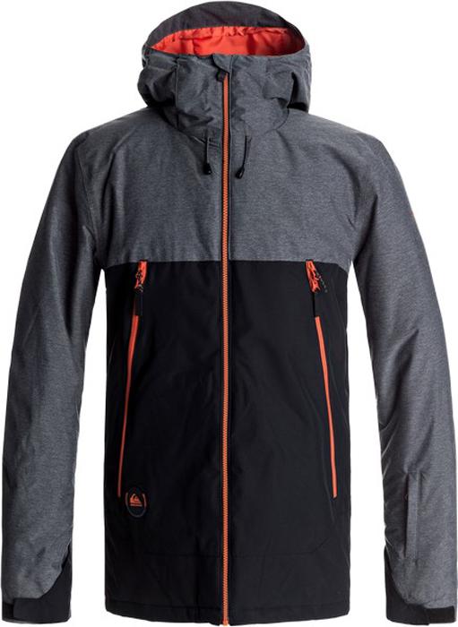 Куртка мужская Quiksilver Sierra, цвет: черный, серый. EQYTJ03124-KVJ0. Размер S (46)EQYTJ03124-KVJ0Сноубордическая куртка Quiksilver Sierra изготовлена из мембранной ткани. В качестве утеплителя используется наполнитель Warmflight (тело 100 г, рукава 80 г, капюшон 60 г). Подкладка выполнена из сетки и тафты со вставками из трикотажа с начесом. Предусмотрены сеточные вставки в области подмышек. Все основные швы проклеены. Система пристегивания позволяет куртку и штаны пристегнуть друг к другу.Модель современного кроя с капюшоном застегивается на молнию с защитой подбородка. Капюшон оснащен тремя регулировками. Куртка дополнена несъемной противоснежной юбкой, которая застегивается на кнопки. На рукавах предусмотрены манжеты-гейтеры из лайкры. Рукава регулируются с помощью хлястиков и липучек. Куртка имеет удобные карманы, из которых карманы для скипасса, катальной маски и медиаустройств. Имеется карабин для ключей.