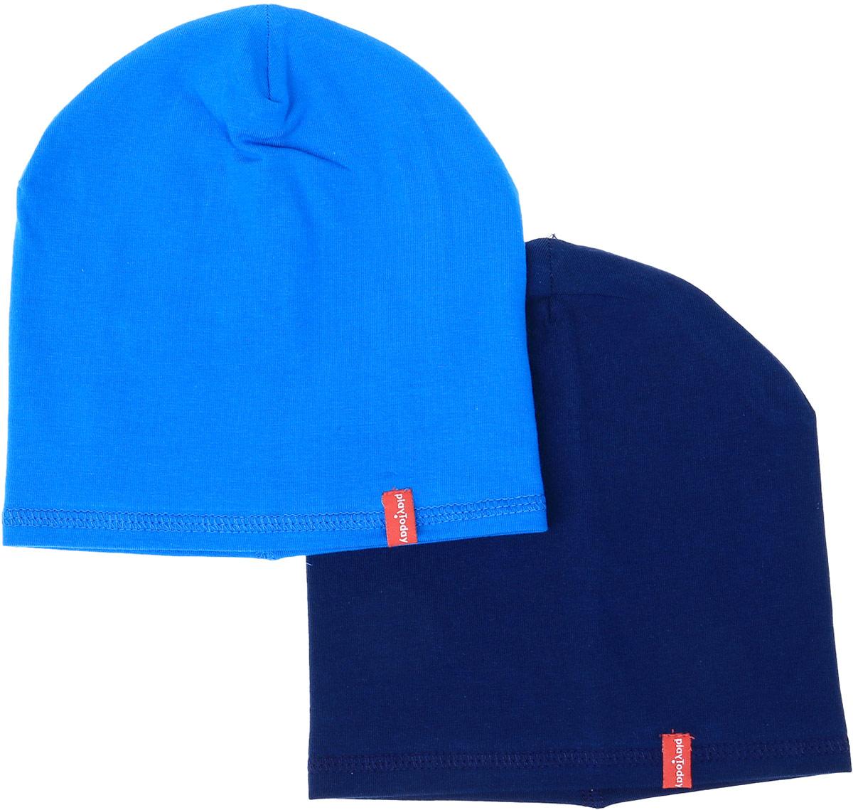 Шапка для мальчика PlayToday, цвет: темно-синий, голубой, 2 шт. 377043. Размер 48377043Шапки PlayToday из трикотажа - отличное решение для прогулок в прохладную погоду. Модели без завязок, плотно прилегают к голове, комфортны при носке.В комплекте 2 шапки.