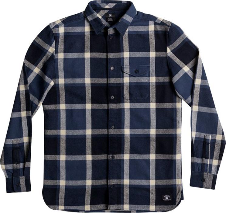 Рубашка мужская DC Shoes Marsha Flannel, цвет: синий. EDYWT03161-BSA0. Размер L (50)EDYWT03161-BSA0Мужская рубашка от DC Shoes выполнена из фланели - очень мягкая ткань с легким начесом. Модель с длинными рукавами и отложным воротником застегивается на пуговицы, на груди дополнена накладным карманом с клапаном на пуговице.
