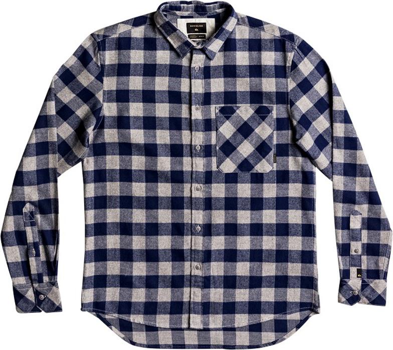 Рубашка мужская Quiksilver, цвет: темно-синий, светло-бежевый. EQYWT03573-BTE1. Размер L (50)EQYWT03573-BTE1Мужская рубашка Quiksilver изготовлена из мягкой хлопчатобумажной фланели с начесом. Изделие прошло легкую смягчающую обработку. Модель с отложным воротником и длинными рукавами застегивается на пуговицы. Крой Modern - чуть более узкий и длинный в сравнении со стандартным. Спереди расположен накладной карман.Рубашка оформлена принтом в клетку.