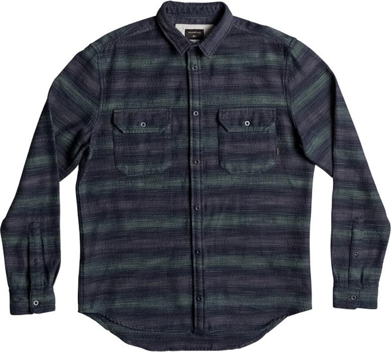 Рубашка мужская Quiksilver, цвет: темно-синий, серый. EQYWT03541-GHR3. Размер M (48)EQYWT03541-GHR3Мужская рубашка Quiksilver изготовлена из плотной фланелевой ткани. Модель классического кроя с отложным воротником и длинными рукавами застегивается на пуговицы. Спереди расположены накладные карманы с клапанами на пуговицах.Рубашка оформлена принтом.