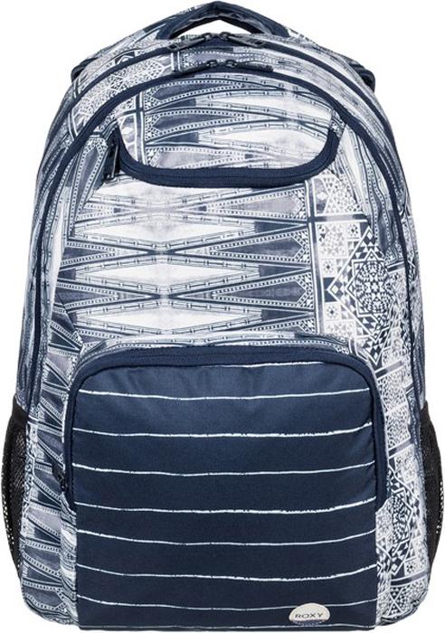 Рюкзак женский Roxy, цвет: белый, темно-синий. ERJBP03594-BTK7ERJBP03594-BTK7Женский рюкзак среднего размера Roxy выполнен с новыми яркими принтами. Модель закрывается на молнию. Внутри рюкзака два основных отделения. Снаружи карман на молнии и верхний кармашек для солнечных очков,так же два боковых кармана из сетки. Предусмотрено отделение для ноутбука (с диагональю до 15 дюймов) с уплотненными стенками.Модель оснащена эргономичными набивными заплечными лямками, удобной набивной спинкой и усиленным дном из каучука.
