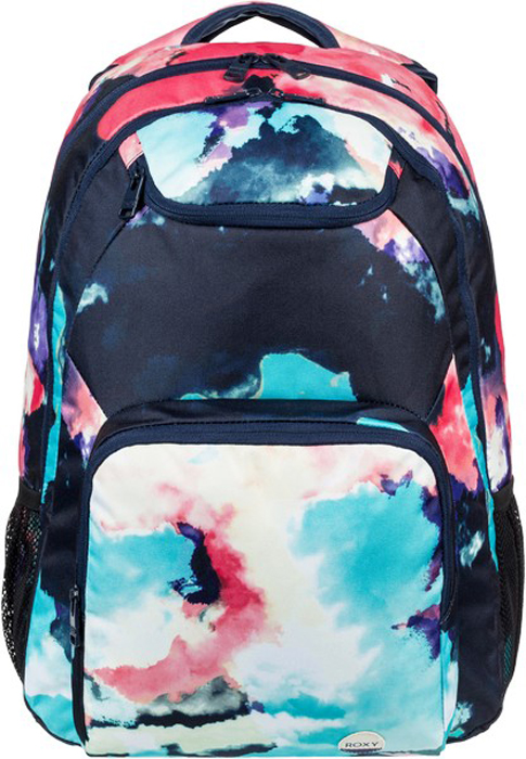 Рюкзак женский Roxy, цвет: бирюзовый, темно-фиолетовый. ERJBP03594-BGF6ERJBP03594-BGF6Женский рюкзак среднего размера Roxy выполнен с новыми яркими принтами. Модель закрывается на молнию. Внутри рюкзака два основных отделения. Снаружи карман на молнии и верхний кармашек для солнечных очков,так же два боковых кармана из сетки. Предусмотрено отделение для ноутбука (с диагональю до 15 дюймов) с уплотненными стенками.Модель оснащена эргономичными набивными заплечными лямками, удобной набивной спинкой и усиленным дном из каучука.