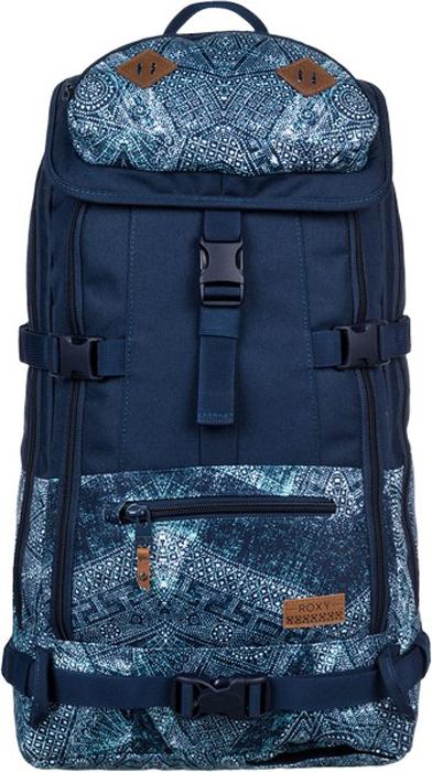 Рюкзак спортивный женский Roxy Tribute, цвет: темно-синий, серо-голубой, бирюзовый. ERJBP03483-SGRHERJBP03483-BTN6Сноубордический рюкзак Roxy Tribute станет незаменимым помощником во время активного отдыха. Рюкзак изготовлен из прочного синтетического полиэстера 600D и имеет два отделения, закрывающиеся на молнии и клапаном с фиксатором. Удобная спинка выполнена из дышащей сетки с прочной износостойкой подкладкой и дополнена системой вертикального крепления горных лыж и сноуборда. На клапане расположен карман на флисовой подкладке для маски, сбоку у спинки - вертикальный карман с уплотненными стенками для ноутбука. Также имеется отделение для щупа и лопатки. Рюкзак имеет прочные широкие лямки регулируемой длины, ручку для переноски в руке съемный поясной стреп-ремень.