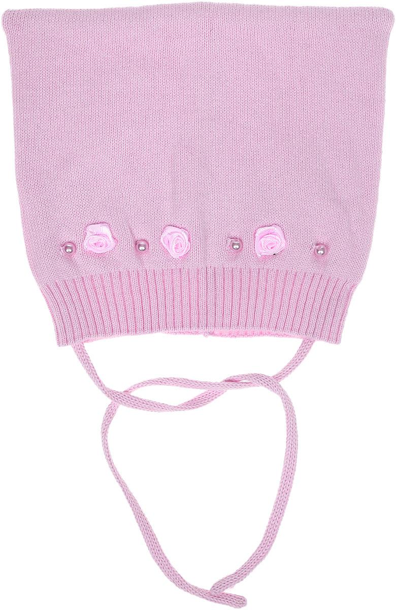 Шапка для девочки PlayToday Baby, цвет: светло-розовый. 178816. Размер 44178816Шапка для девочки PlayToday Baby подойдет для прогулок в прохладную погоду. Шапка выполнена из мягкого хлопкового трикотажа мелкой вязки и оформлена текстильными цветами и бусинами. Шапка плотно прилегает к голове, а завязки позволяют надежно зафиксировать шапку на голове ребенка.Уважаемые клиенты!Размер, доступный для заказа, является обхватом головы.