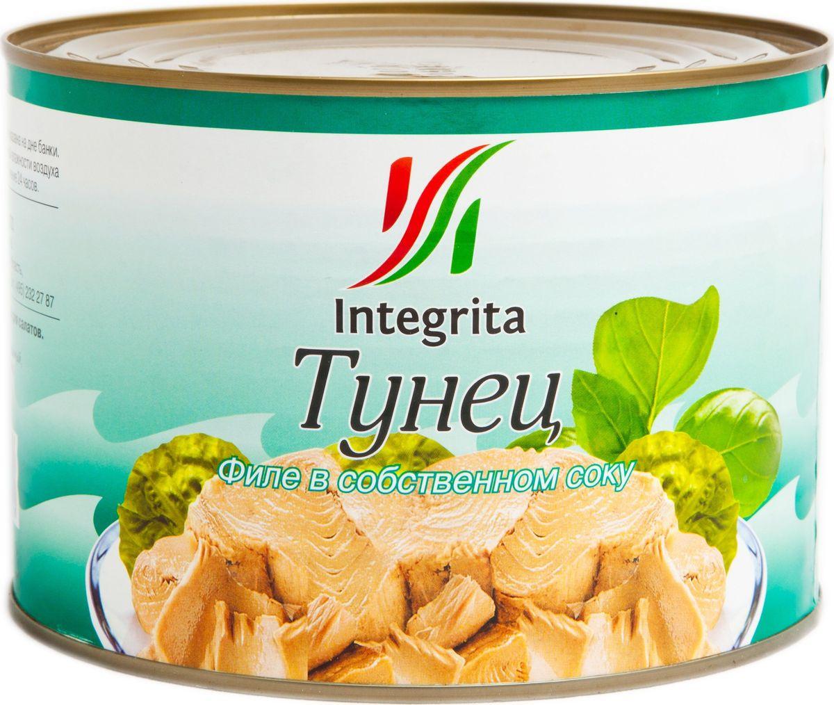 Integrita тунец филе в собственном соку, 1,7 кгМС-00001026Приготовлен из мяса молодого тунца. Отличается нежным цветом и приятным вкусом. Идеален для приготовления салатов, закусок, горячих бутербродов и других вкусных блюд.