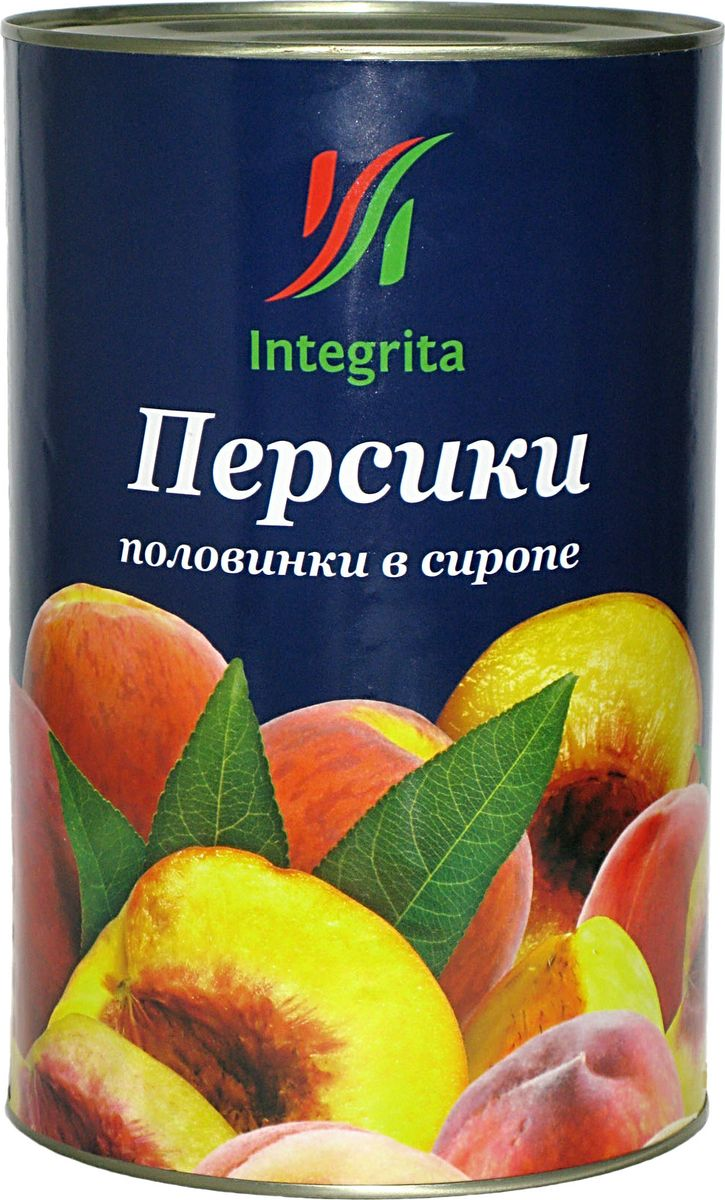 Integrita персики в сиропе половинками, 3 кгМС-00004307Консервированные персики Integrita прекрасны в фруктовых салатах, нежных сливочных десертах, в составе коктейлей и с хрустящим безе!