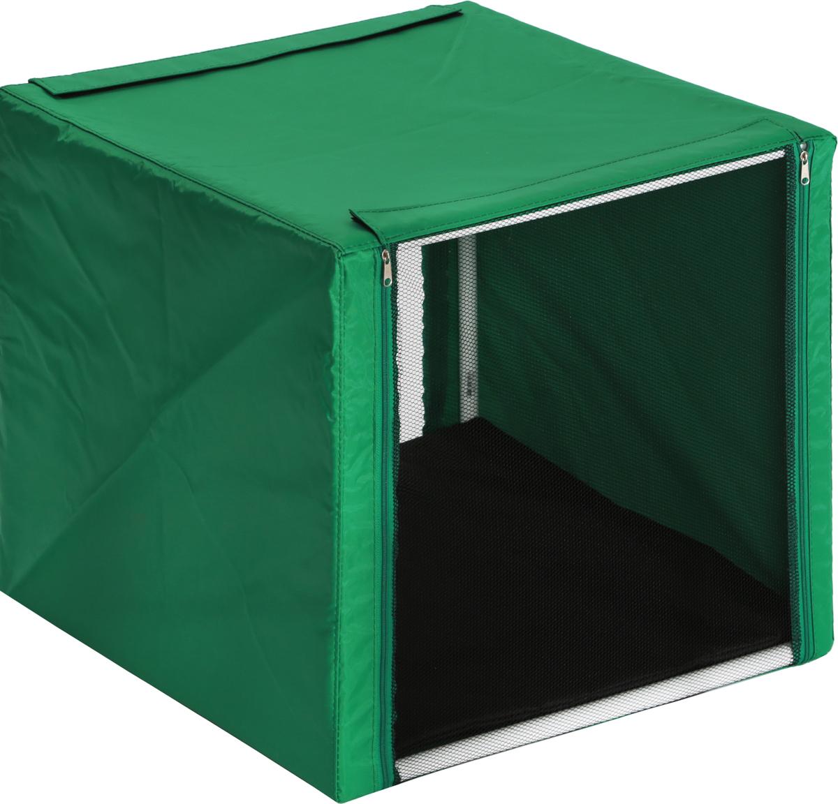 Клетка выставочная для кошек  Заря-Плюс , с чехлом, цвет: зеленый, черный, 56 х 56 х 56 см