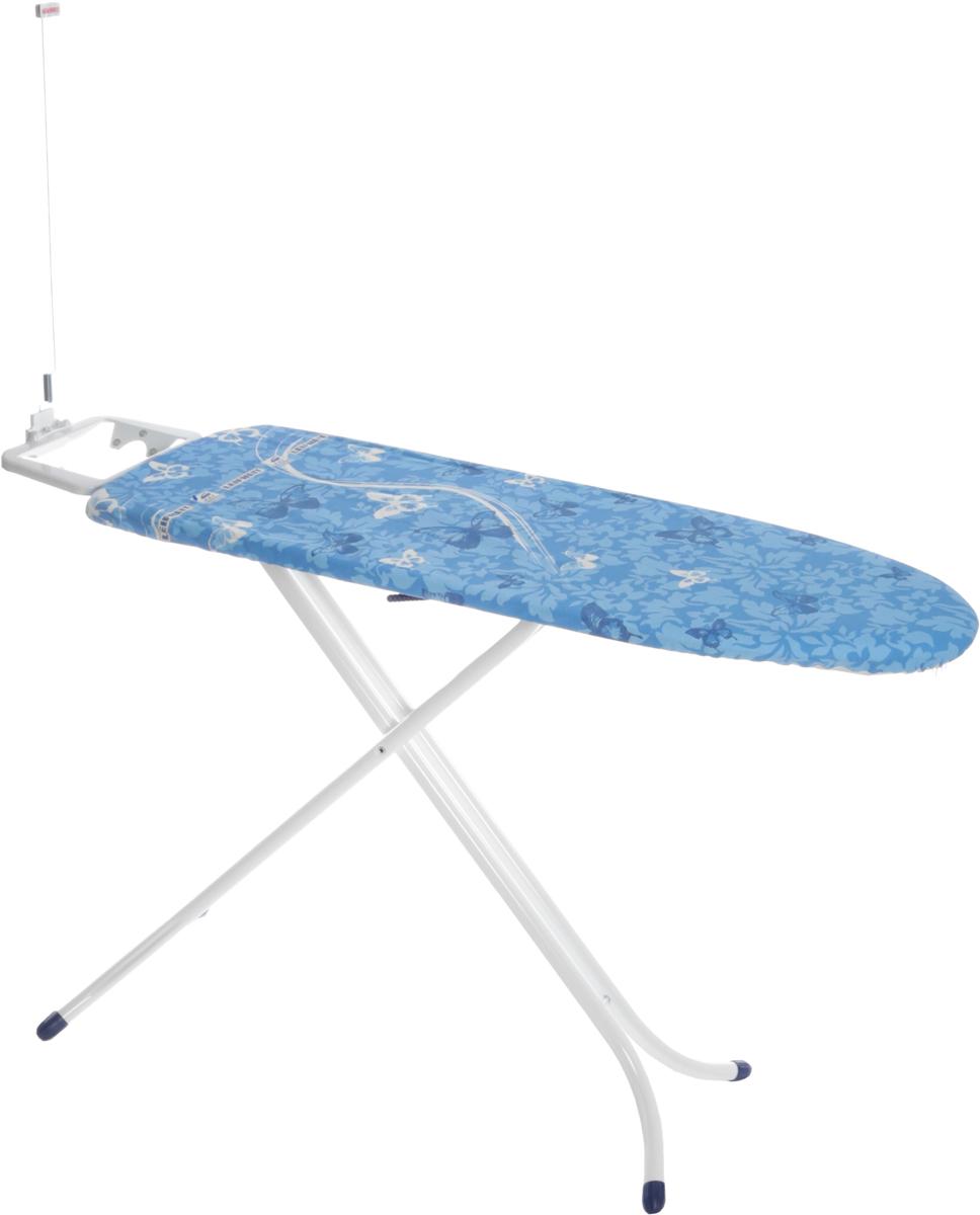 Доска гладильная Leifheit Airboard Compact M, цвет: голубой, синий, белый, 120 х 38 см72585_бабочкиГладильная доска Leifheit AirBoard Compact M станет незаменимой помощницей в глажении белья. Очень существенная особенность - это ее легкий вес, доска легче аналогичных благодаря гладильной поверхности из вспененного пластика. Чехол из хлопка с поверхностью Thermo Reflect позволяет гладить на 33% быстрее. Благодаря эксклюзивной технологии отражающей поверхности белье гладится сразу с двух сторон. Форма доски идеальна для глажения любого текстиля, а также рубашек и блузок. Доска очень устойчива. Металлические ножки снабжены пластиковыми вставками. Новый механизм регулировки высоты обеспечивает большую безопасность и устойчивость. Доска снабжена фиксированной подставкой под утюг. Надежная доска, отличающаяся легкостью и компактностью.Высота: 95 см. Размер доски: 120 х 38 см.