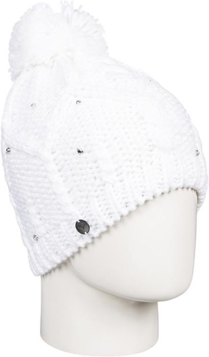 Шапка женская Roxy, цвет: белый. ERJHA03291-WBB0. Размер универсальныйERJHA03291-WBB0Стильная женская шапка Roxy Shooting Star дополнит ваш наряд и не позволит вам замерзнуть в холодное время года. Шапка крупной вязки выполнена из акрила, что позволяет ей великолепно сохранять тепло и обеспечивает высокую эластичность и удобство посадки.Шапка оформлена стразами, помпоном и объемными вязаными узорами.