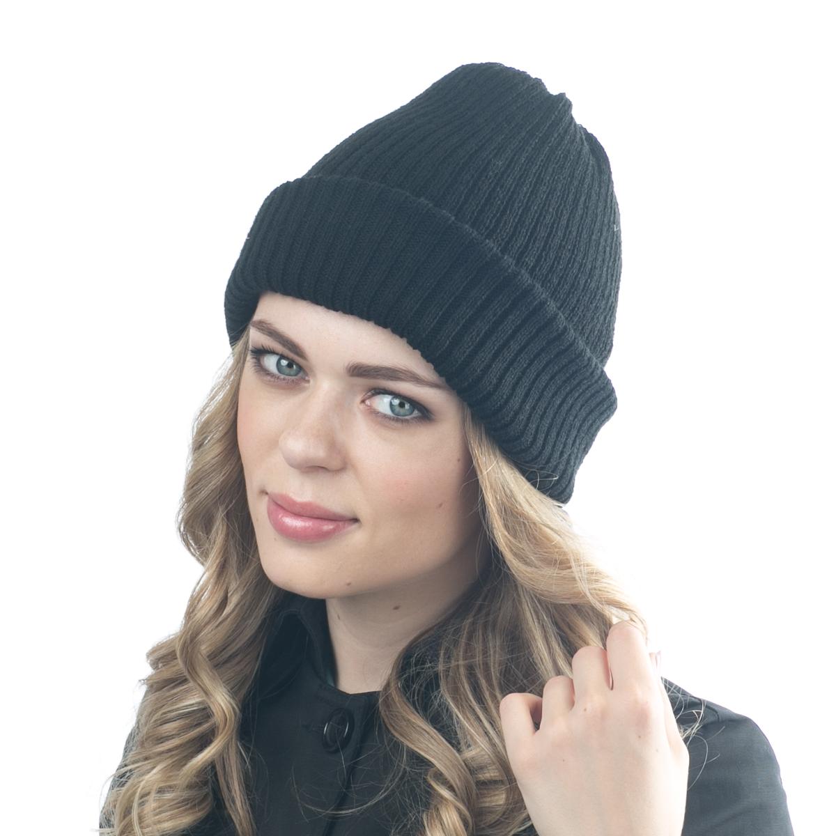 Шапка женская Flioraj, цвет: черный. 07FJ. Размер 56/5807FJДвухсторонняя шерстяная шапка от Flioraj, выполненная из полиамида с добавлением шерсти и вискозы, отлично согреет в холодную погоду. Состав пряжи делает изделие мягким, теплым и комфортным. Одна сторона выполнена актуальными мелкими косами, вторая сторона - не менее актуальной резинкой. Такую шапочку можно носить с любым видом верхней одежды, достаточно только определиться с цветом.