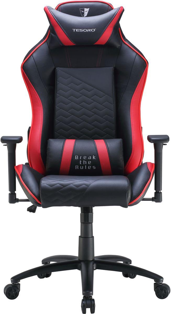 Tesoro Technology Zone Balance F710, Black Red игровое креслоTSF710BRЭргономичное игровое кресло Tesoro Technology Zone Balance F710 с высокой спинкой полностью поддерживает позвоночный столб. Наличие поясничной подушки и подушки под голову делает использование данного кресла еще более удобным. Функциональные особенности:Спинка раскладывается на 180 градусовНастраиваемые высота кресла и высота подлокотников Стальная пятиконечная базаГазовый лифт 4 класса Металлическая рама, наполнение пеной высокой плотности Вышитые логотипы Tesoro в верхней части креслаМатериал рамы: металл Отделка кресла: искусственная кожа (полиуретан)Подлокотники 3DРаскладывание спинки: 90-180°Тип спинки: высокая Размер сиденья: 57 x 55 смНастраиваемая поясничная подушкаНастраиваемая подушка под головуБаза 350 мм - крашеная стальВысококачественные пластиковые гоночные колесики, диаметр 6 смМаксимальная нагрузка 120 кгВес нетто 23 кг.