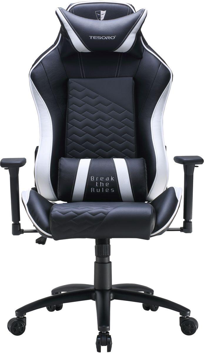 Tesoro Technology Zone Balance F710, Black White игровое креслоTSF710BWЭргономичное игровое кресло Tesoro Technology Zone Balance F710 с высокой спинкой полностью поддерживаетпозвоночный столб. Наличие поясничной подушки и подушки под голову делает использование данного креслаеще более удобным.Функциональные особенности: Спинка раскладывается на 180 градусов Настраиваемые высота кресла и высота подлокотниковСтальная пятиконечная база Газовый лифт 4 классаМеталлическая рама, наполнение пеной высокой плотностиВышитые логотипы Tesoro в верхней части кресла Материал рамы: металлОтделка кресла: искусственная кожа (полиуретан) Подлокотники 3D Раскладывание спинки: 90-180° Тип спинки: высокаяРазмер сиденья: 57 x 55 см Настраиваемая поясничная подушка Настраиваемая подушка под голову База 350 мм - крашеная сталь Высококачественные пластиковые гоночные колесики, диаметр 6 см Максимальная нагрузка 120 кг Вес нетто 23 кг.