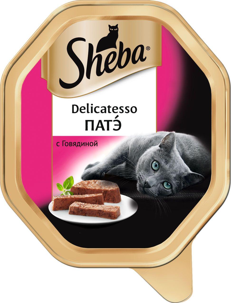 Корм консервированный Sheba Delicatesso, для взрослых кошек, от 1 года, патэ с говядиной, 85 г sheba appetito ломтики в желе с говядиной и кроликом для кошек 85г 10161708