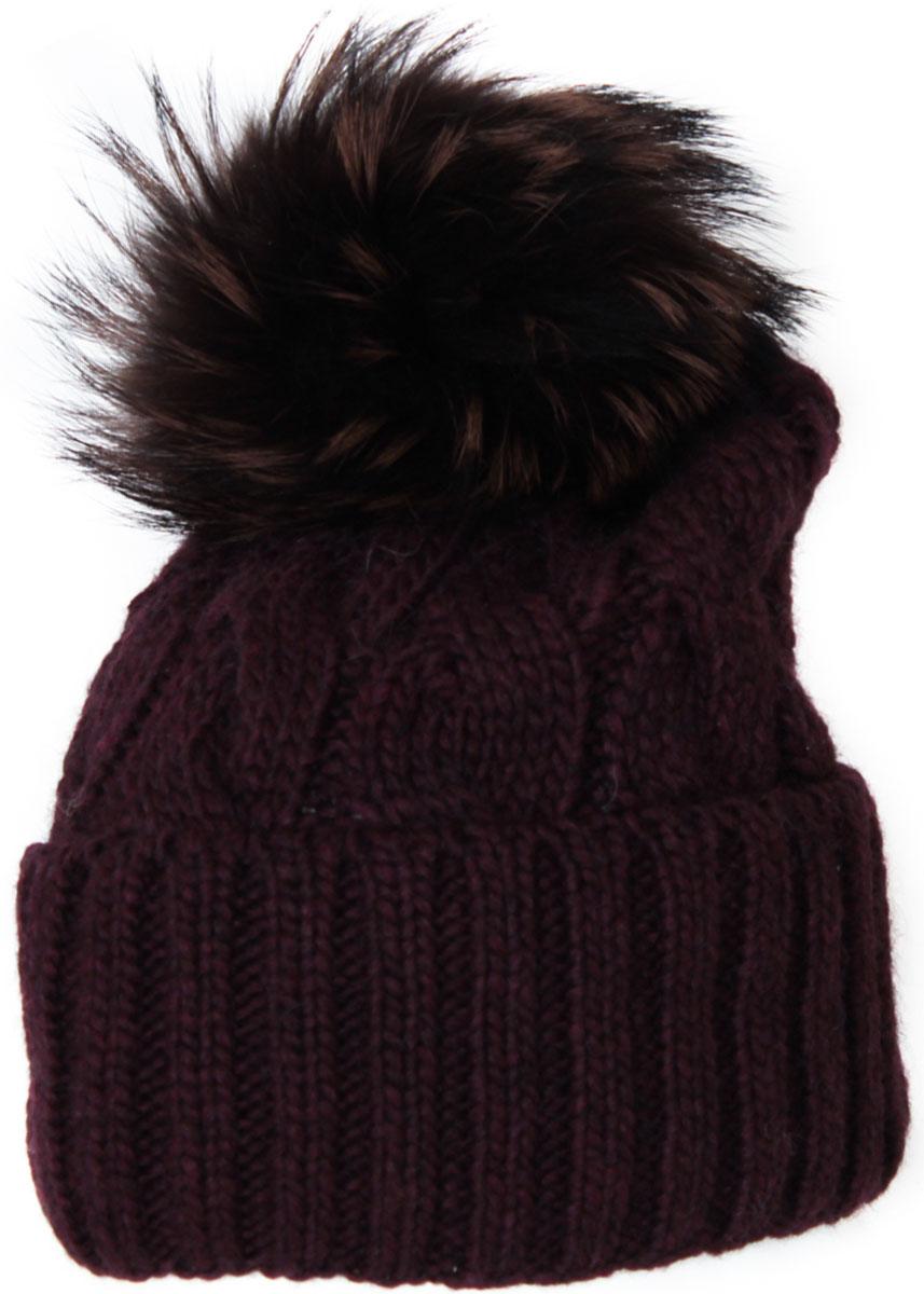 Шапка женская Flioraj, цвет: брусничный. 013/2FJ. Размер 56/58013/2FJМягкая и очень удобная шапка от Flioraj, связанная из овечьей шерсти и шерсти горной альпаки, отлично согреет в холодную погоду. Состав пряжи делает изделие мягким, теплым и комфортным. Модель выполнена крупными косами, дополнена отворотом и меховым крашеным помпоном из енота коричневого цвета. Оттенок помпона может отличаться.