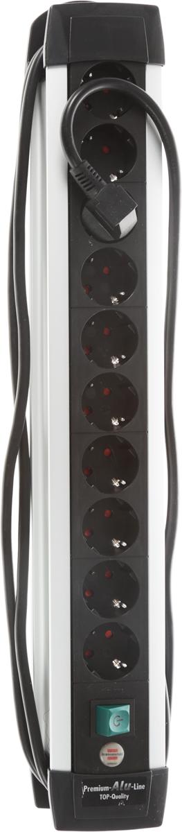 Удлинитель Premium-Alu-Line с выключателем, универсальный, 10 гнезд, 3 м, цвет: черный с серебристым1391000010Универсальный удлинитель Premium-Alu-Line с 2-х полюсным выключателем для безопасного разъединения. Сделан из алюминия с пластиковыми вставками. Удобно расположенные розетки позволяют подключать угловые вилки. Высокое качество, надежность и безопасность, так же предусмотрена защита от детей.