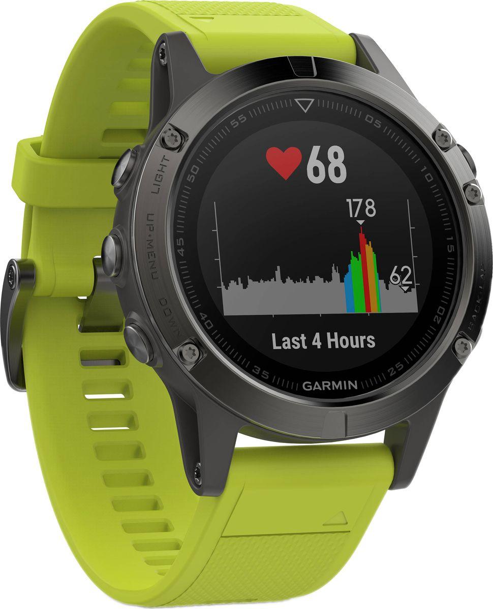 Часы спортивные Garmin Fenix 5 Amp Yellow, цвет: желтый010-01688-02Часы с GPS/ГЛОНАСС для повседневной жизни, приключений, фитнеса и спортаFenix 5 серые часы с желтым ремешкомПремиум-часы с GPS/ГЛОНАСС, мультиспортивными тренировками и встроенным оптическим пульсометром Elevate1Созданы для активных приключений: прочный корпус со стальным безелем, кнопками и задней крышкой, защита от воды 100мВиджеты, которые показывают эффективность ход тренировок доступны одним касаниемСмарт функции - интеллектуальные оповещения, автоматическая загрузка в интернет-сообщество Garmin Connect и персонализация через загружаемые бесплатные циферблаты и приложения из магазина Connect IQВстроенные датчики: GPS и ГЛОНАСС, 3-х осевой магнитный компас, гироскоп, термометр, барометр и барометрический высотомерСрок работы от батареи: до двух недель в режиме умных часов (зависит от настроек), до 24 часов в режиме тренировки с GPS или до 60 часов в режиме экономии UltraTracСовершенствуйтесь весь день, каждый день. Fenix 5 - это высококачественные умные GPS-часы с мультиспортом, интеллектуальными уведомлениями2 и встроенным оптическим пульсометром на запястье1. Улучшенные функции фитнеса и быстросменные ремешки, которые позволяют вам уйти с рабочего места на тренировку, без задержек. Каким бы видом спорта вы не занимались, Fenix 5 его поддерживает, благодаря встроенным профилям деятельности и показателям производительности.Две системы навигацииFenix 5 оснащен улучшенным спутниковым приемником GPS и ГЛОНАСС для отслеживания местоположения в сложных условиях. Вы можете рассчитывать на длительное время автономной работы в каждом режиме работы (конкретное время зависит от модификации часов и настроек). Защита от воды 100м позволит вам с уверенностью путешествовать везде, где захочется.Отличная читаемость на ходуЯркий полноцветный дисплей Garmin Chroma Display со светодиодной подсветкой обеспечивает отличную читаемость при любых внешних условиях. Трансфлективная технология, которая одновременно отража