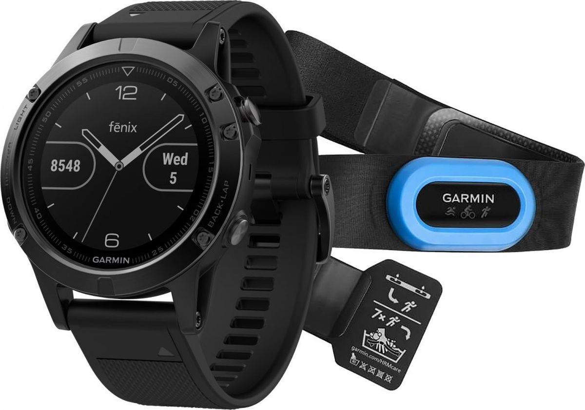 """Часы спортивные Garmin """"Fenix 5 Sapphire"""", цвет: черный. 010-01688-32"""
