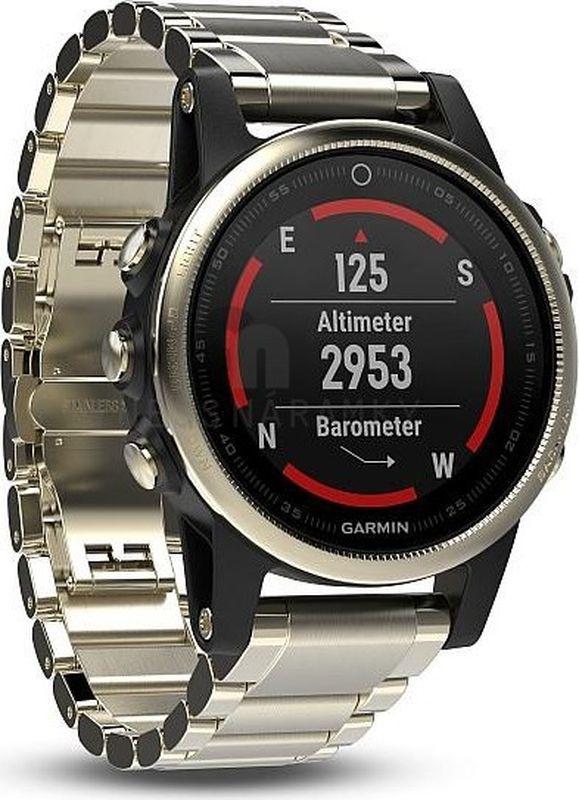 Часы спортивные Garmin Fenix 5S Sapphire, цвет: золотистый. 010-01685-15010-01685-15Часы с GPS/ГЛОНАСС для повседневной жизни, приключений, фитнеса и спортаFenix 5S компактные часы (42мм) золотистые с металлическим браслетом, сапфировым стеклом и Wi-FiПремиум-часы с GPS/ГЛОНАСС, мультиспортивными тренировками и встроенным оптическим пульсометром Elevate1Созданы для активных приключений: прочный корпус со стальным безелем, кнопками и задней крышкой, защита от воды 100мВиджеты, которые показывают эффективность ход тренировок доступны одним касаниемСмарт функции2 - интеллектуальные оповещения, автоматическая загрузка в интернет-сообщество Garmin Connect и персонализация через загружаемые бесплатные циферблаты и приложения из магазина Connect IQВстроенные датчики: GPS и ГЛОНАСС, 3-х осевой магнитный компас, гироскоп, термометр, барометр и барометрический высотомерСрок работы от батареи: до двух недель в режиме умных часов (зависит от настроек), до 24 часов в режиме тренировки с GPS или до 60 часов в режиме экономии UltraTracСовершенствуйтесь весь день, каждый день. Fenix 5 - это высококачественные умные GPS-часы с мультиспортом, интеллектуальными уведомлениями2 и встроенным оптическим пульсометром на запястье1. Улучшенные функции фитнеса и быстросменные ремешки, которые позволяют вам уйти с рабочего места на тренировку, без задержек. Каким бы видом спорта вы не занимались, Fenix 5 его поддерживает, благодаря встроенным профилям деятельности и показателям производительности.Две системы навигацииFenix 5 оснащен улучшенным спутниковым приемником GPS и ГЛОНАСС для отслеживания местоположения в сложных условиях. Вы можете рассчитывать на длительное время автономной работы в каждом режиме работы (конкретное время зависит от модификации часов и настроек). Защита от воды 100м позволит вам с уверенностью путешествовать везде, где захочется.Отличная читаемость на ходуЯркий полноцветный дисплей Garmin Chroma Display со светодиодной подсветкой обеспечивает отличную читаемость при л