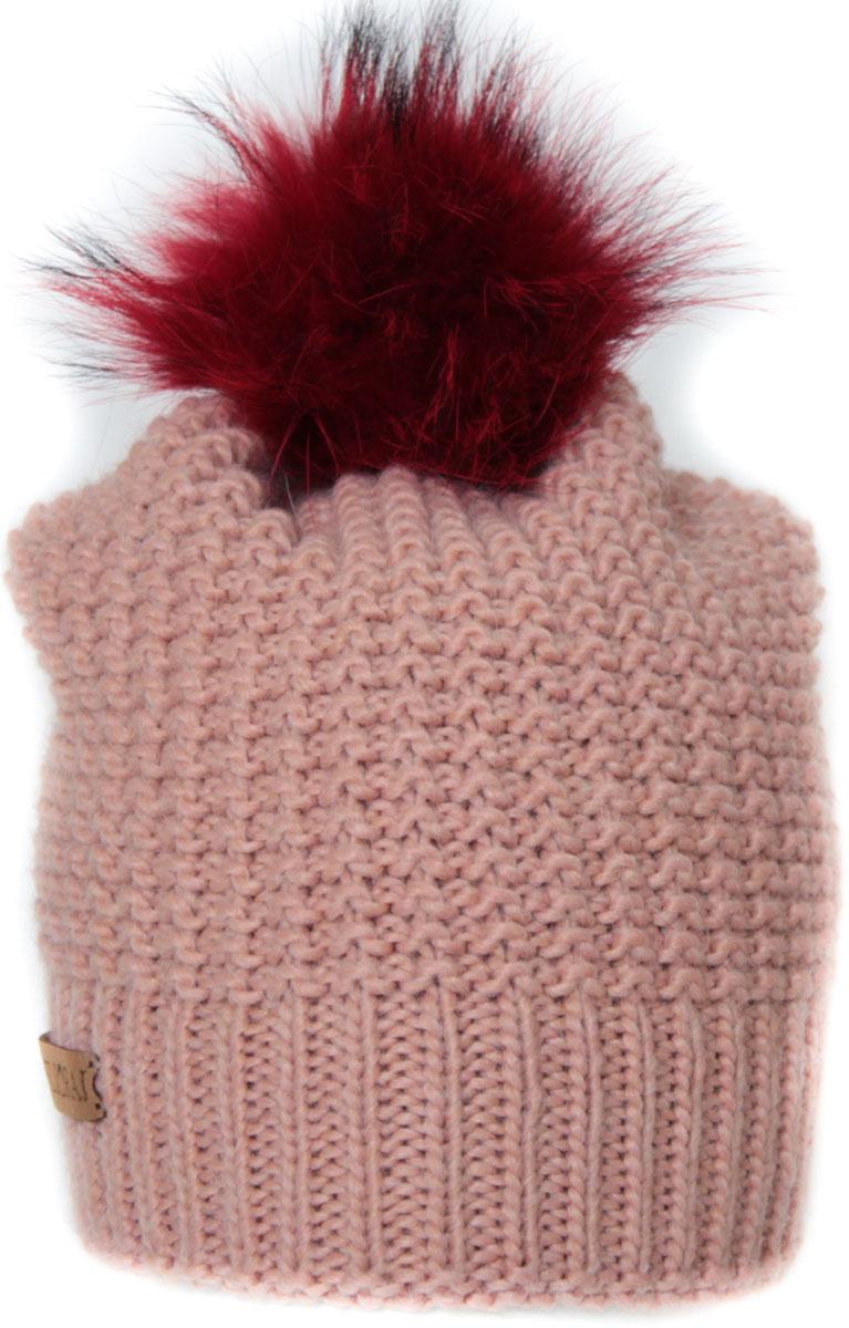 Шапка женская Flioraj, цвет: персиковый. 304/5FJ. Размер 56/58304/5FJДвойная шерстяная шапка от Flioraj, связанная из объемной итальянской пряжи, отлично защитит от холода. Состав пряжи делает изделие мягким, теплым и комфортным. Модель дополнена съемным меховым помпоном и фирменным кожаным логотипом.