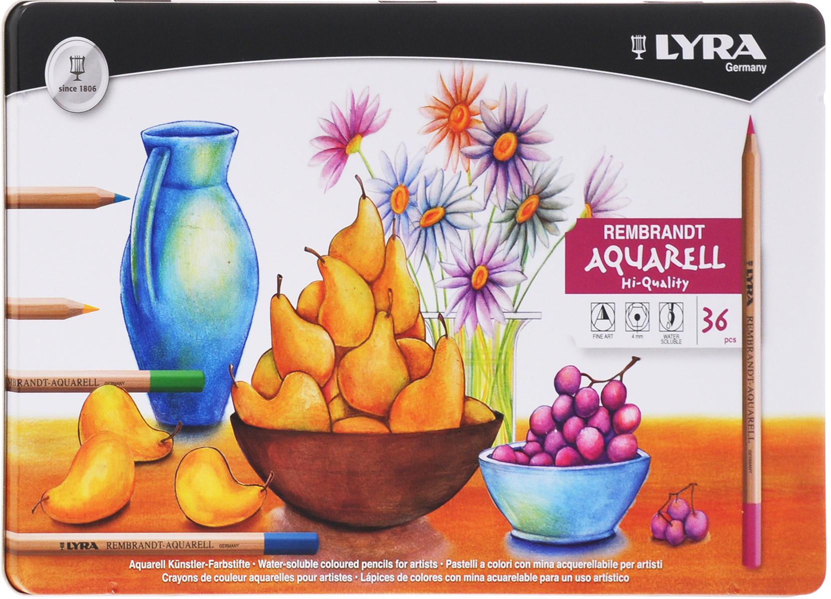 Lyra Набор художественных цветных карандашей Rembrandt Aquarell 36 штL2011360_кувшин, тарелка с грушами, виноградом, ваза с цветамиЦветовая палитра художественных карандашей Lyra Rembrandt Aquarell содержит большое разнообразие оттенков. Благодаря качеству пигментов в грифеле карандаша цвета получаются яркими, хорошо смешиваются и почти полностью размываются водой. При работе в этой технике вы сначала рисуете изображение карандашами, а затем с помощью мягкой кисти размываете его водой. Каждый цветной карандаш Rembrandt Aquarell дает выразительный оттенок, устойчивый к выцветанию. Поэкспериментируйте, чтобы добиться различных вариантов прозрачности и непрозрачности.