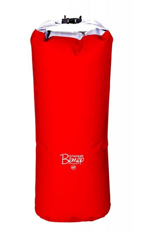 Гермомешок Вольный ветер, цвет: красный, 60 л21003Гермомешок объемом 60 л изготовлен из качественных синтетических тканей с двухсторонним покрытием ПВХ. Все швы проварены. Вдоль клапана пришита пластиковая лента, что обеспечивает более плотную скрутку и фиксацию клапана. Высота полная: 106 см. Высота рабочая (без скрутки): 86 см.Ширина дна: 34 см.