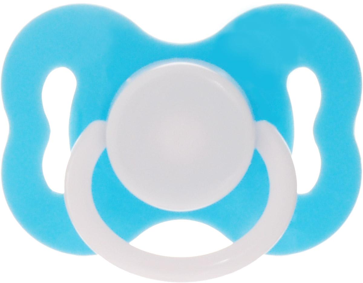 Lubby Пустышка силиконовая с рельефной поверхностью от 3 месяцев цвет голубой
