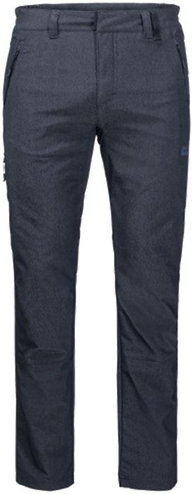 Брюки мужские Jack Wolfskin Activate Sky M, цвет: темно-синий. 1504551-1910. Размер 50 (50)1504551-1910Эластичные, прекрасно дышащие водо- и ветронепроницаемые брюки Jack Wolfskin Activate Sky изготовлены из комбинированного, похожего на деним софтшелла. Модель прямого кроя стандартной посадки на талии имеет застежку-молнию в ширинке и пуговицу на эластичном поясе. Имеются шлевки для ремня. Изделие дополнено двумя прорезными карманами на молниях на бедрах и одним прорезным карманом на молнии на брючине. Ширину в области лодыжек можно регулировать.На альпийских тропах или в джунглях большого города - брюки Activate Sky позволяют вам сочетать стиль и функциональность. Эти практичные брюки сшиты из нового, похожего на деним, материала Flex Shield. Приятная легкая и прекрасно дышащая ткань обладает также водо- и ветронепроницаемыми свойствами. Все это делает ее максимально комфортной. Суперэластичные вставки в ключевых областях создают необходимую свободу движений на сложных горных маршрутах.