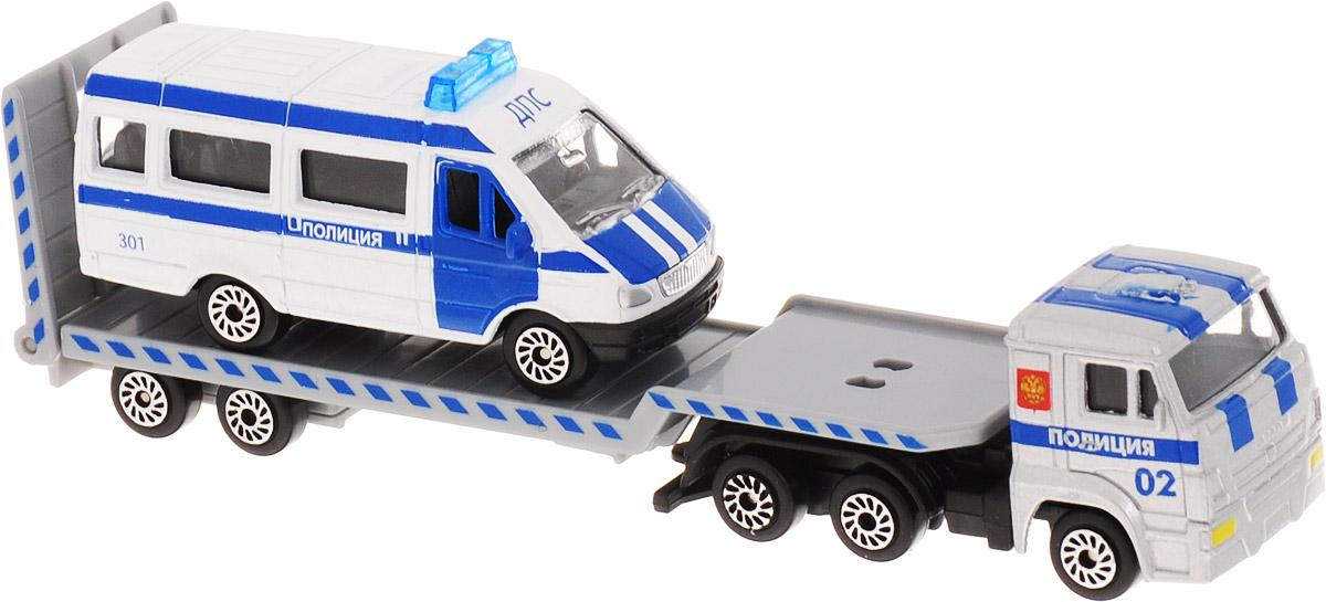 ТехноПарк Набор машинок КамАЗ Транспортер с Газелью Полиция 2 шт технопарк набор машинок транспортер военный камаз с лодкой 2 шт