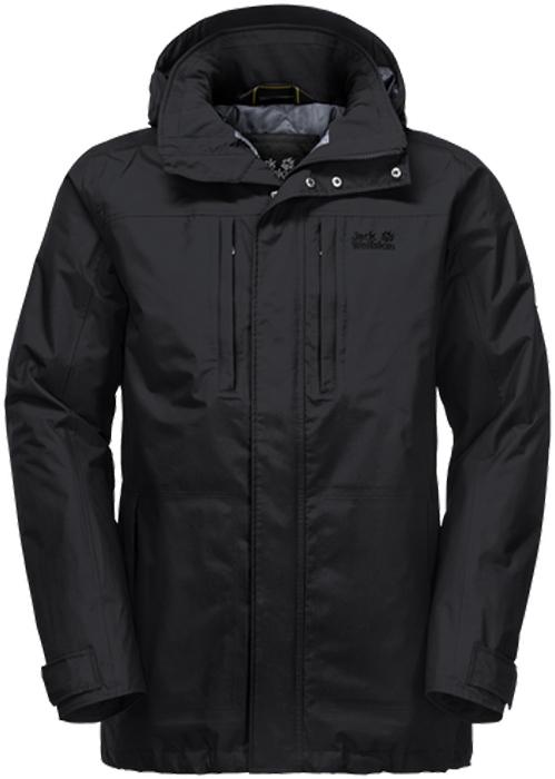 Куртка мужская Jack Wolfskin Westpoint Island, цвет: черный. 1107702-6000. Размер XL (52)1107702-6000Водонепроницаемая, ветроустойчивая куртка с утеплителем и отстегивающимся капюшоном Jack Wolfskin Westpoint Island обеспечит вам надежное тепло для холодных дней. Модель прямого кроя с воротником-стойкой, надежно защищающим от ветра, и съемным капюшоном с возможностью регулировать внутренний объем и область обзора застегивается на молнию с ветрозащитной планкой на кнопках и дополнена 2 карманами на бедрах, 2 нагрудными карманами и внутренним карманом. На манжетах рукавов имеются хлястики на кнопках для регулировки объема. Ясное, солнечное, свежее зимнее утро, или дождливый и прохладный осенний день - вы сможете наслаждаться прогулками на свежем воздухе вне зависимости от погоды. Именно для этого и создана куртка Westpoint Island. Потому что эта куртка надежно защитит вас от дождя, снега и холода.Наружный материал куртки Texapore Taslan 2L: прочная, водонепроницаемая и дышащая наружная ткань с отделкой, похожей на хлопок (водостойкость в мм водяного столба: 10 000 мм, паропроницаемость (MVTR): > 6000 г/м2/24 ч). Для того, чтобы дольше сохранять тепло, куртка Westpoint содержит утеплитель Polyfiber Fill (100 г/м2) - синтетический утеплитель со средним уровнем теплоизоляции. Это надежный, легкий утеплитель, абсолютно нечувствительный к влаге.