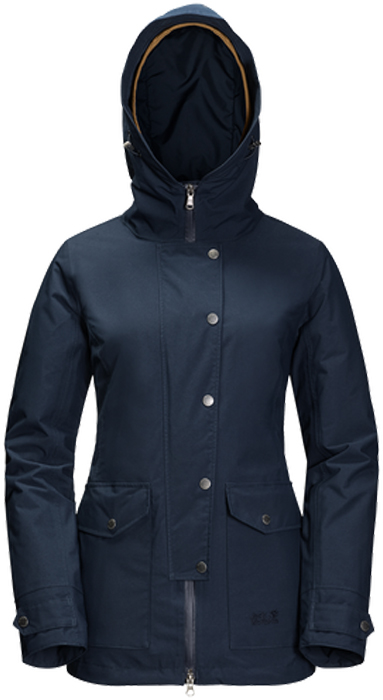 Куртка женская Jack Wolfskin Devon Island, цвет: темно-синий. 1109321-1910. Размер L (50)1109321-1910Водонепроницаемая куртка 3 в 1 Jack Wolfskin Devon Island состоит из двух курток, состегивающихся между собой. Утепленная внутренняя куртка приталенного кроя с воротником-стойкой и вшитым капюшоном застегивается на молнию с внутренней ветрозащитной планкой и дополнена двумя прорезными карманами на молнии. Куртка изготовлена из легкого, ветро- и водостойкого материала Softtouch Taffeta, в качестве наполнителя использован эффективный синтетический утеплитель Microguard (100 г/м2).Внешняя куртка с глубоким вшитым капюшоном с возможностью регулировать внутренний объем и область обзора застегивается на молнию с ветрозащитной планкой на кнопках и дополнена 4 карманами на бедрах и внутренним карманом. Манжеты рукавов имеют хлястики на кнопках, позволяющие регулировать объем. Куртка изготовлена из материала Texapore Herringbone 2L, это прочная, похожая на хлопок, водонепроницаемая и дышащая ткань с узором в елочку (водостойкость в мм водяного столба: 10 000 мм, паропроницаемость (MVTR): > 6000 г/м2/24 ч). Холодный ветер и мокрый снег - подходящая погода для куртки 3 в 1 Devon Island. Просто наденьте суперглубокий капюшон, глухо застегните куртку и направляйтесь на встречу повседневным приключениям. И неважно, какая на улице погода. Ткань Texapore гарантированно не даст вам промокнуть. Комфортный микроклимат - это тоже типичное ее свойство. Утепленная внутренняя куртка сохранит тепло на протяжении долгих дней, проведенных в холоде. А летом, если вам нужна ветровка, или осенью, если необходима теплая внутренняя куртка, вы можете отстегнуть ее с помощью системной застежки-молнии и носить два изделия по отдельности.