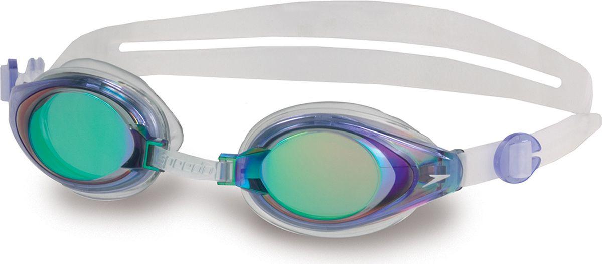 Очки для плавания Speedo Mariner Mirror, цвет: голубой, прозрачный8-093003540
