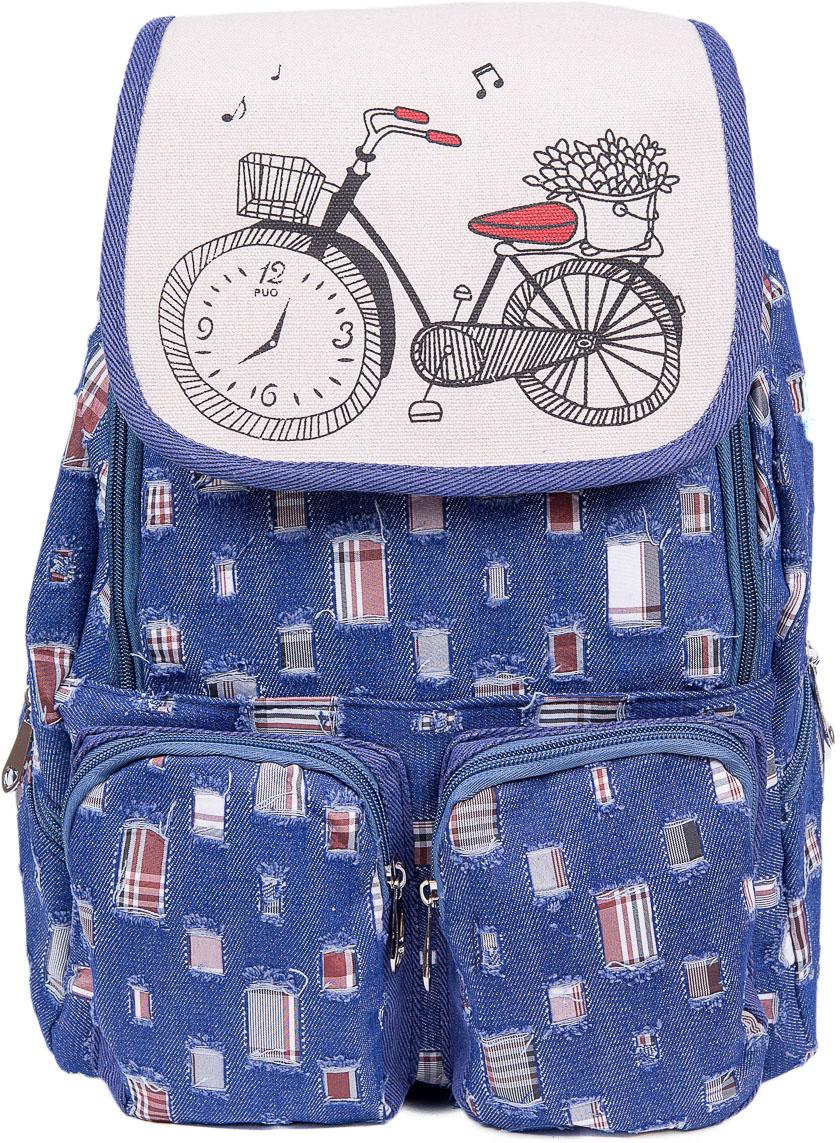 Рюкзак женский Nuages, цвет: синий, белый. NR6204/1navyNR6204/1navyТекстильный рюкзак. Основное отделение на молнии, 2 кармана на молнии сзади, 2 боковых кармана на молнии, клапан на липучке.