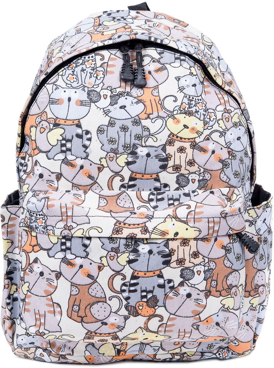 Рюкзак женский Nuages, цвет: серый, бежевый. NR7105-9NR7105-9Женский рюкзак Nuages изготовлен из плотного текстиля с забавным рисунком. Рюкзак имеет одно основное отделение и закрывается на застежку-молнию. На лицевой стороне находится один объемный карман на молнии, по бокам два кармана без застежек. Рюкзак оснащен плечевыми лямками регулируемой длины из текстиля и короткой ручкой. Стильный рюкзак эффектно дополнит ваш яркий образ.