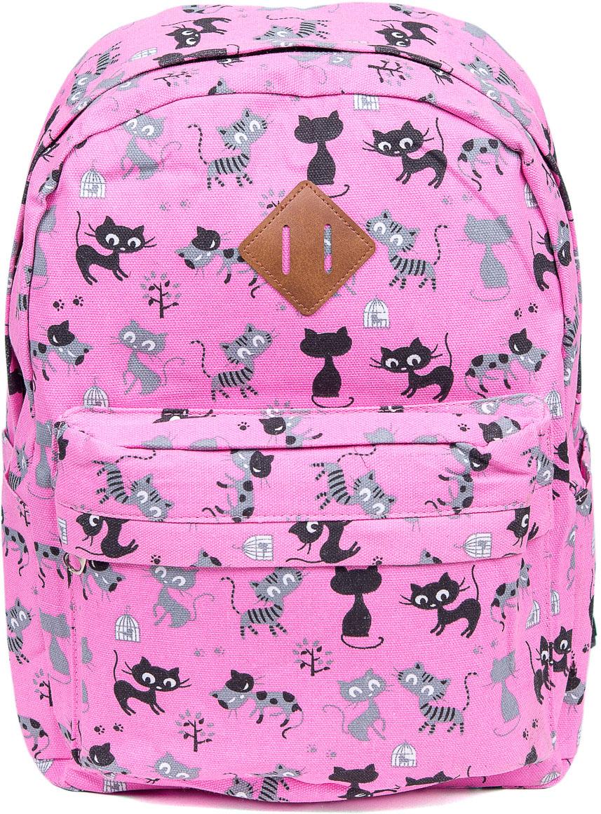 Рюкзак женский Nuages, цвет: розовый. NR7107/2 pinkNR7107/2 pinkЖенский рюкзак Nuages изготовлен из плотного текстиля с забавным рисунком. Рюкзак имеет одно основное отделение и закрывается на застежку-молнию. На лицевой стороне находится один объемный карман на молнии, по бокам два кармана без застежек, сзади один карман на молнии.Рюкзак оснащен плечевыми лямками регулируемой длины из текстиля и короткой ручкой. Стильный рюкзак эффектно дополнит ваш яркий образ.