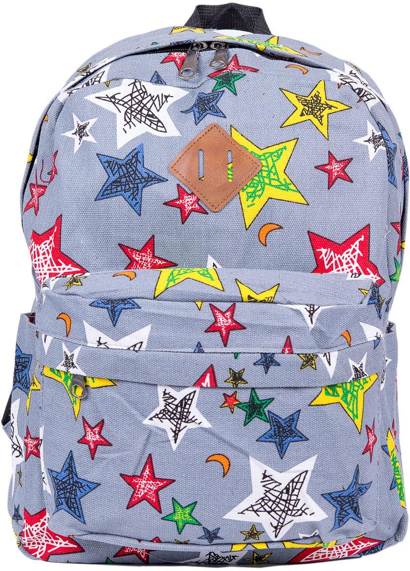 Рюкзак женский Nuages, цвет: серый. NR7115/3greyNR7115/3greyЖенский рюкзак Nuages изготовлен из плотного текстиля с забавным рисунком. Рюкзак имеет одно основное отделение и закрывается на застежку-молнию. На лицевой стороне находится один объемный карман на молнии, по бокам два кармана без застежек, сзади один карман на молнии.Рюкзак оснащен плечевыми лямками регулируемой длины из текстиля и короткой ручкой. Стильный рюкзак эффектно дополнит ваш яркий образ.