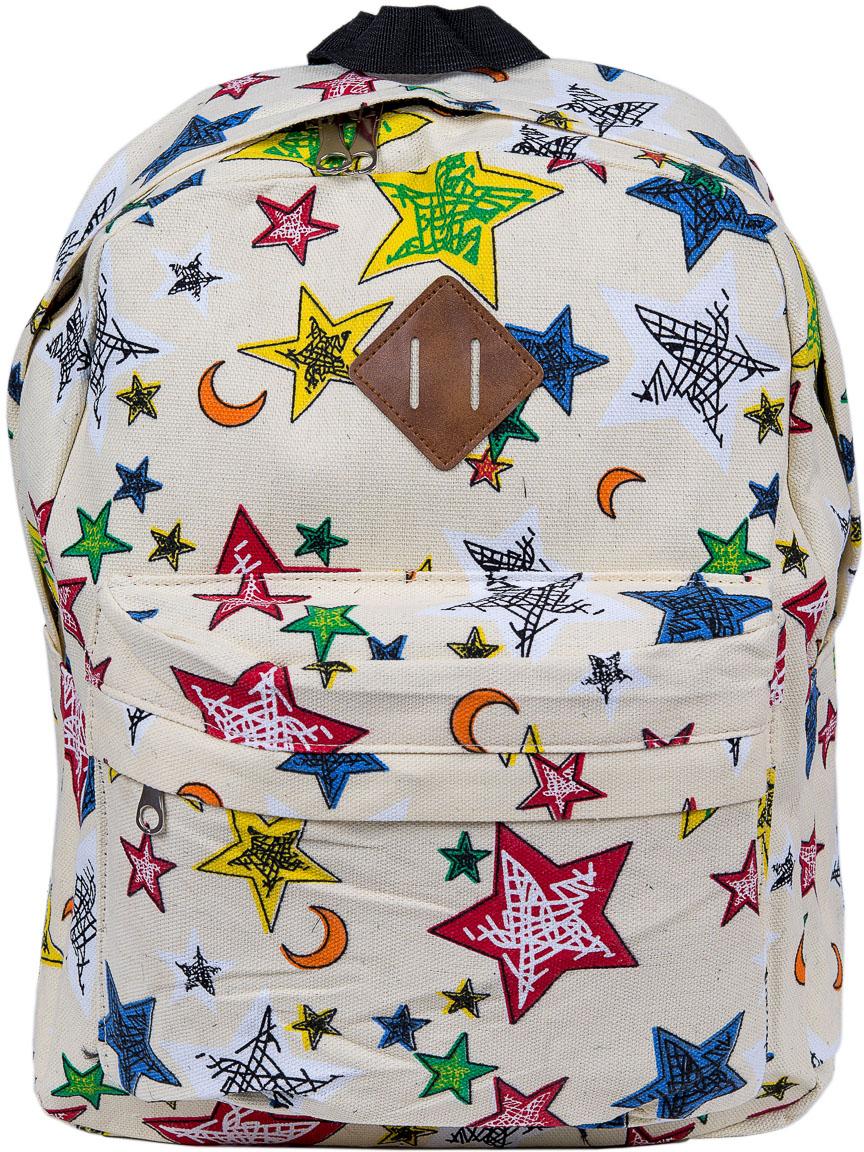 Рюкзак женский Nuages, цвет: бежевый. NR7115/4beigeNR7115/4beigeЖенский рюкзак Nuages изготовлен из плотного текстиля с забавным рисунком. Рюкзак имеет одно основное отделение и закрывается на застежку-молнию. На лицевой стороне находится один объемный карман на молнии, по бокам два кармана без застежек, сзади один карман на молнии.Рюкзак оснащен плечевыми лямками регулируемой длины из текстиля и короткой ручкой. Стильный рюкзак эффектно дополнит ваш яркий образ.