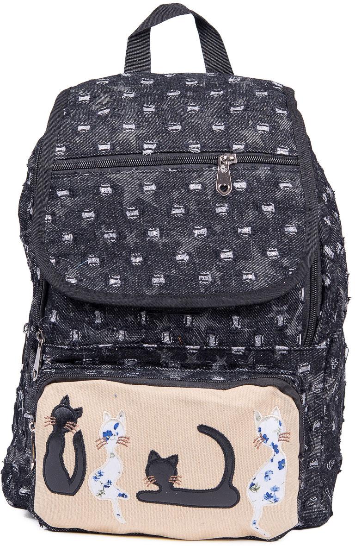Рюкзак женский Nuages, цвет: черный. NR7116/3blackNR7116/3blackЖенский рюкзак Nuages изготовлен из плотного текстиля с забавным рисунком. Рюкзак имеет одно основное отделение и закрывается на застежку-молнию и клапаном на липучке. На лицевой стороне находится один объемный карман на молнии, один карман на молнии на клапане, по бокам два кармана на молнии и сзади один карман на молнии.Рюкзак оснащен плечевыми лямками регулируемой длины из текстиля и короткой ручкой. Стильный рюкзак эффектно дополнит ваш яркий образ!