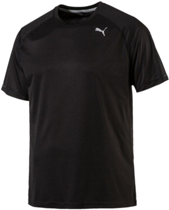 Футболка для бега мужская Puma Core-Run S/S Tee, цвет: черный. 51500801. Размер L (48/50)51500801Футболка Core-Run S/S Tee изготовлена с использованием высокофункциональной технологии dryCELL, которая отводит влагу, поддерживает тело сухим и гарантирует комфорт во время активных тренировок и занятий спортом. Легкий супердышащий материал изделия прекрасно держит форму и обеспечивает полный комфорт. Логотип и другие декоративные элементы, в том числе петлица сзади на горловине выполнены из светоотражающего материала и позаботятся о вашей безопасности в темное время суток. Плоские швы не натирают кожу и обеспечивают непревзойденный комфорт.