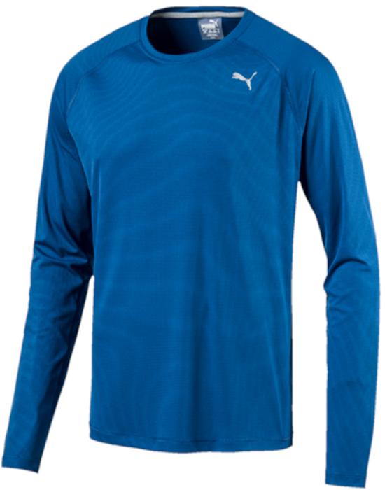 Лонгслив мужской Puma Core-Run L/S Tee, цвет: голубой. 51501003. Размер L (48/50)51501003Изделие изготовлено с использованием высокофункциональной технологии DryCell, которая отводит влагу, поддерживает тело сухим и гарантирует комфорт во время активных тренировок и занятий спортом. Легкий супердышащий материал изделия прекрасно держит форму и обеспечивает полный комфорт. Логотип и другие декоративные элементы, в том числе, петлица сзади на горловине, выполнены из светоотражающего материала и позаботятся о вашей безопасности в темное время суток. Также ворот отделан клеящейся тесьмой. Плоские швы не натирают кожу и обеспечивают непревзойденный комфорт. Удобный покрой рукавов-реглан не стесняют движений.
