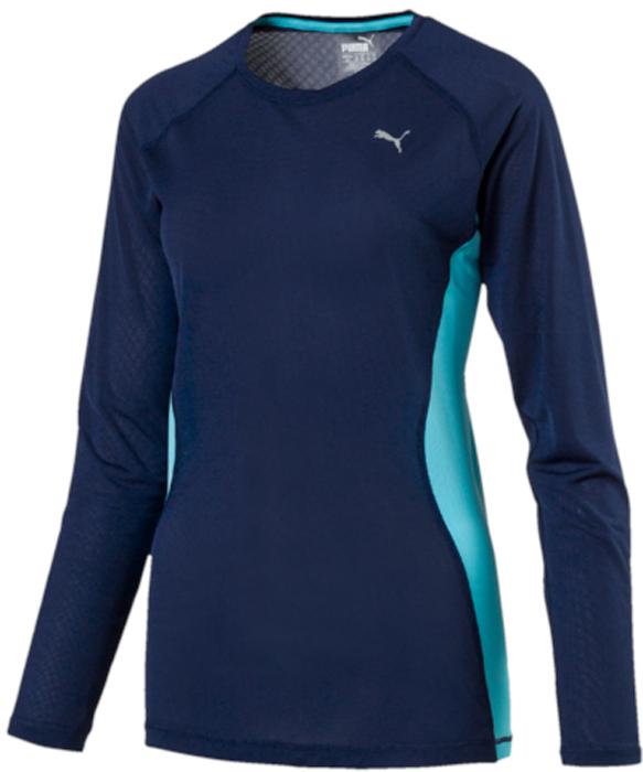 Лонгслив женский Puma Core-Run L S Tee W, цвет: синий. 51503503. Размер XL (48/50)51503503Лонгслив от Puma с длинным рукавом прекрасно подойдет для пробежек на открытом воздухе.