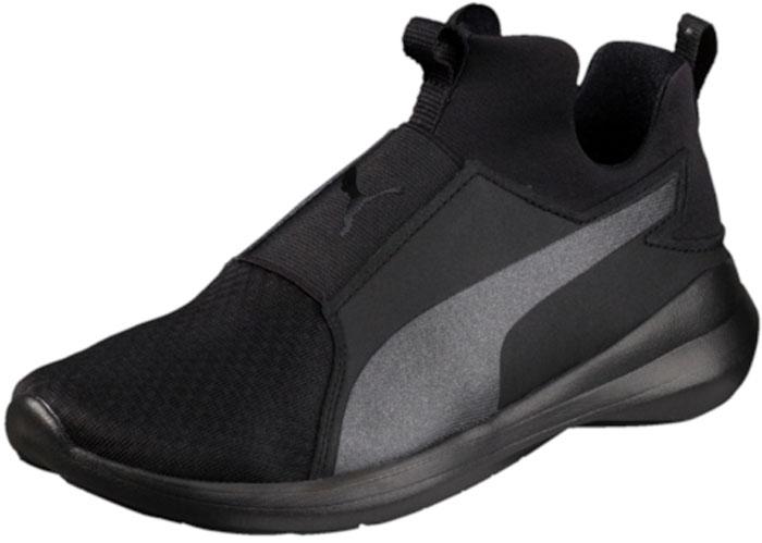 Кроссовки женские Puma Rebel Mid, цвет: черный. 36453906. Размер 6 (38)36453906Современная обувь Rebel Mid в бескомпромиссном спортивном стиле разработана специально для женщин и подходит как для интенсивных занятий спортом, так и для повседневной носки. Утолщённая подошва с вставками из вспененного этиленвинилацетата создает отличную амортизацию, чуть завышенный силуэт помогает не обращать внимания на капризы погоды, а фиксированная стелька и мягкий язык позволяют быстро и легко надевать и снимать эти кроссовки. Носок, усиленный накладками из искусственной кожи, надежно защищает пальцы. Динамизм и неповторимый стиль – вот основные характеристики модели, предназначенной для активных и спортивных девушек!