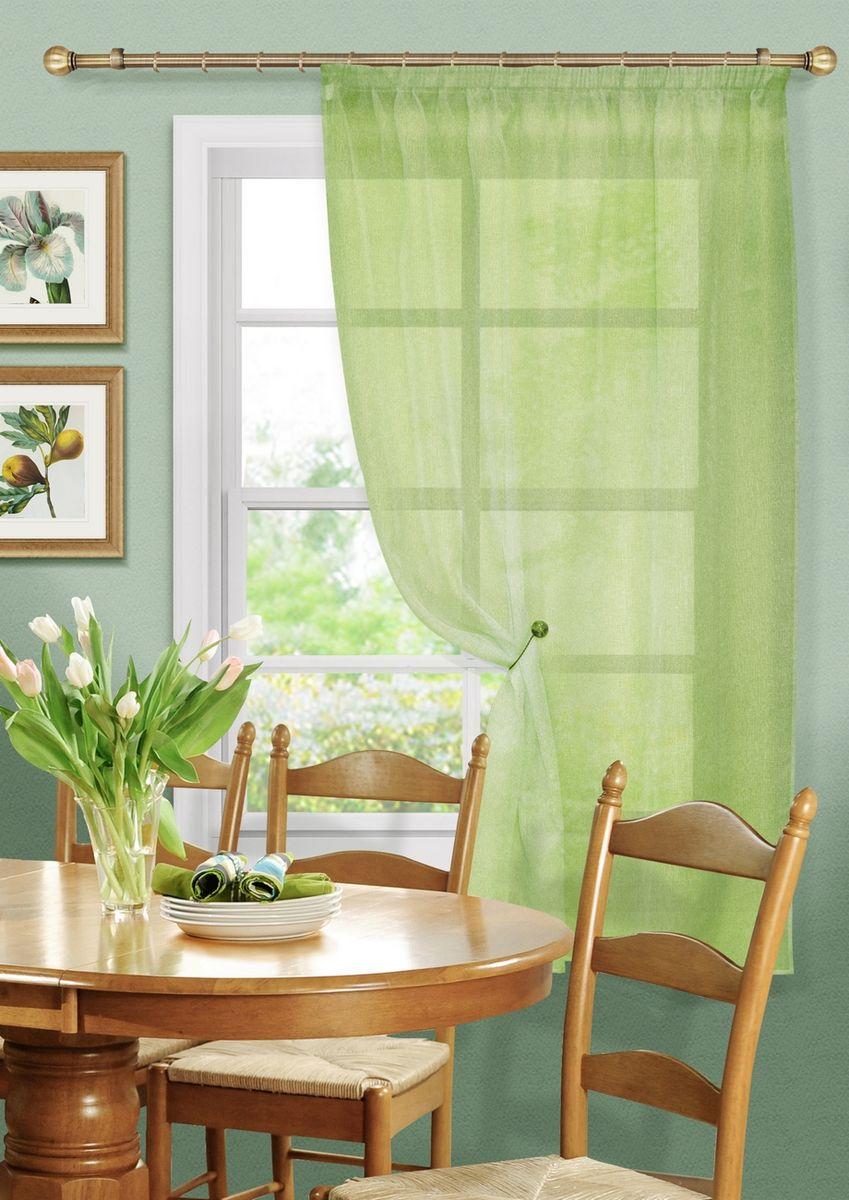 Штора KauffOrt Бисквит, на ленте, цвет: светло-зеленый, высота 170 см3111173180Штора Kauffort выполнена из ткани - сетка (100% полиэстер). Качественный материал, оригинальный дизайн и контрастная цветовая гамма привлекут к себе внимание и органично впишутся в интерьер помещения. Штора Kauffort великолепно украсит любое окно.Штора крепится на карниз при помощи ленты, которая поможет красиво и равномерно задрапировать верх.