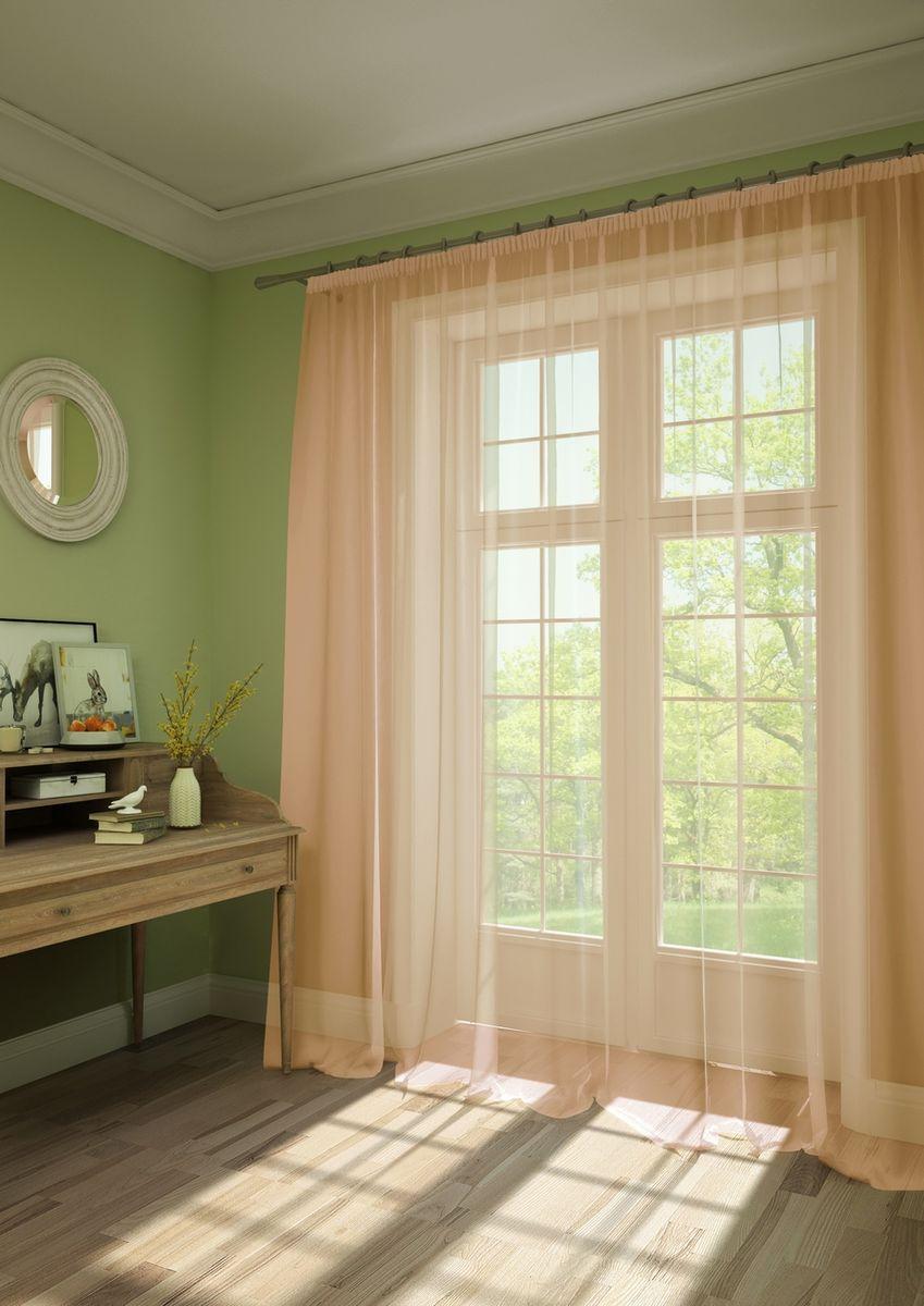 Штора KauffOrt Нелли, на ленте, цвет: светлый абрикос, высота 287 см3111250173Штора Kauffort, выполненная из нежной вуали (100% полиэстер), станет великолепным украшением любого окна. Оригинальный дизайн и приятная цветовая гамма привлекут к себе внимание и органично впишутся в интерьер помещения. Штора оснащена шторной лентой для красивой сборки.