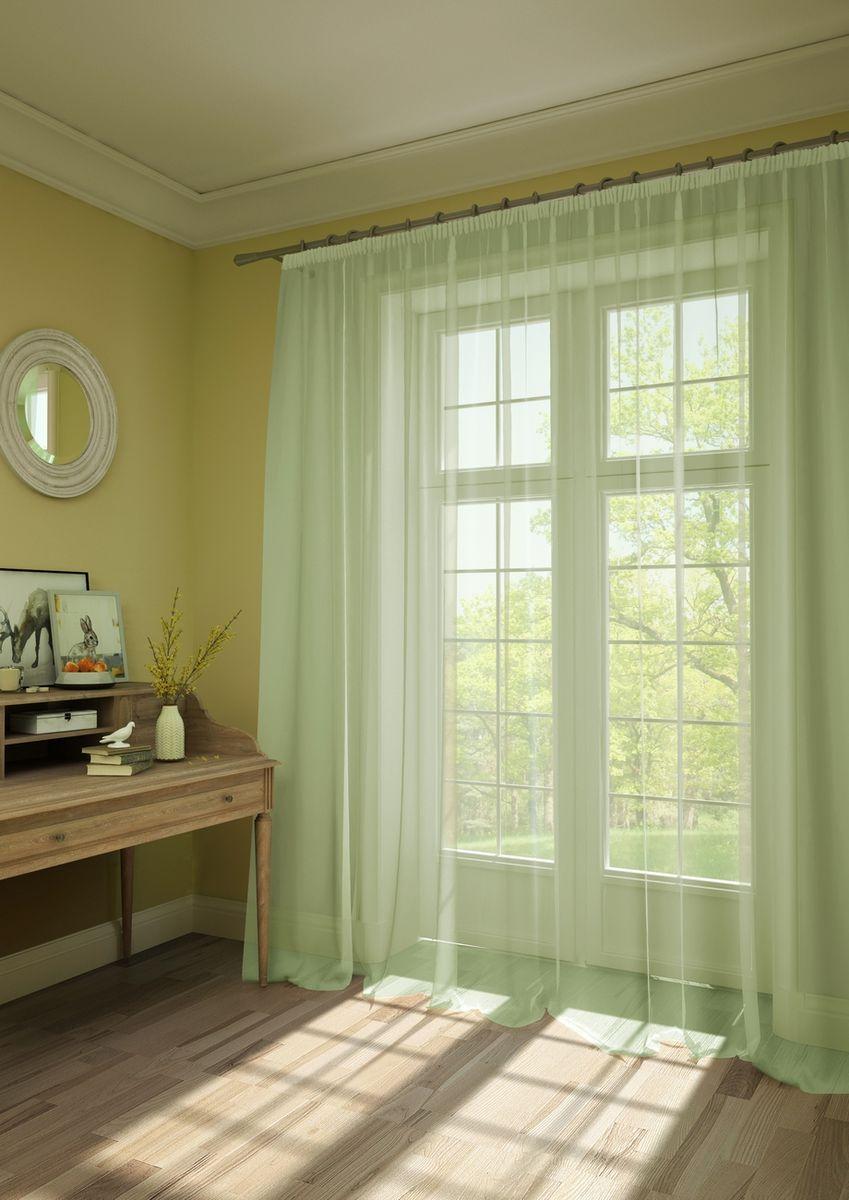 Штора KauffOrt Нелли, на ленте, цвет: светло-зеленый, высота 287 см3111250180Штора Kauffort, выполненная из нежной вуали (100% полиэстер), станет великолепным украшением любого окна. Оригинальный дизайн и приятная цветовая гамма привлекут к себе внимание и органично впишутся в интерьер помещения. Штора оснащена шторной лентой для красивой сборки.