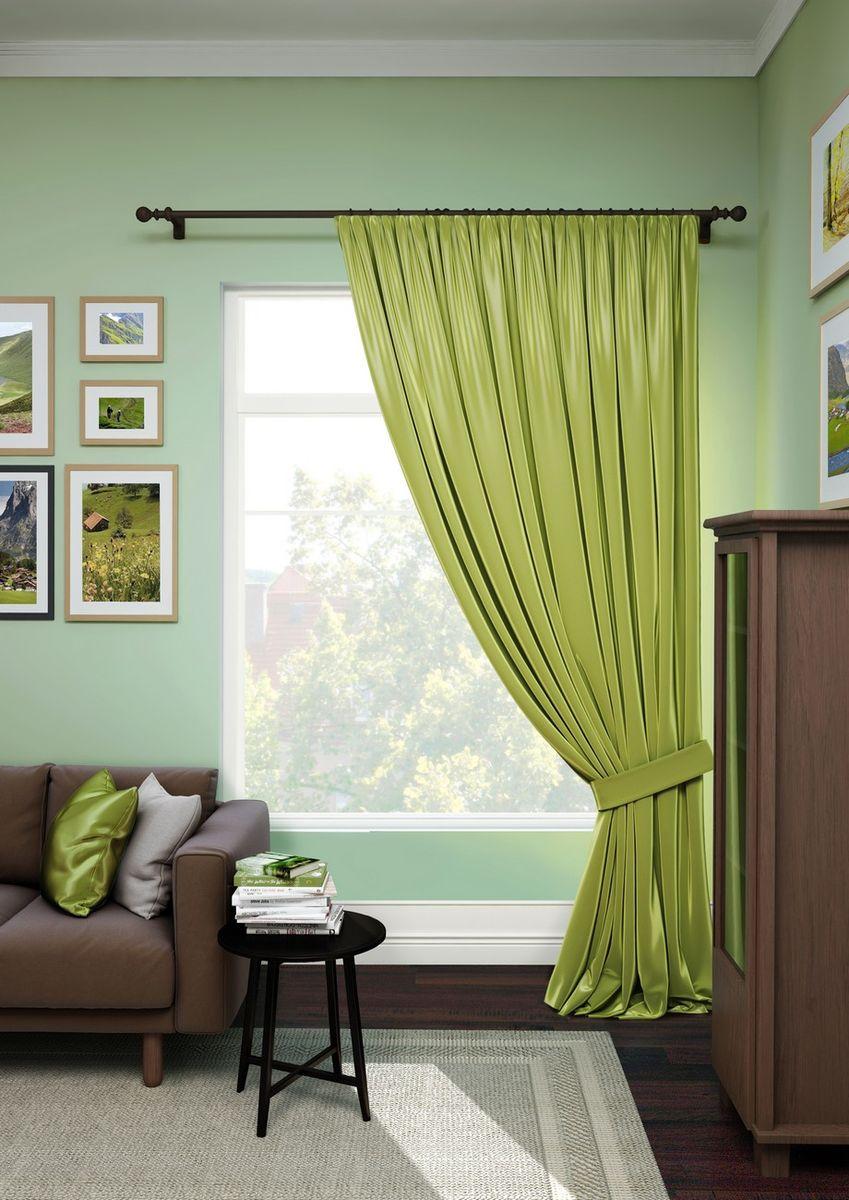 Штора KauffOrt Эвелина, на ленте, с подхватом, цвет: зеленый, ширина 200 см, высота 280 см штора легкая kauffort mingyan