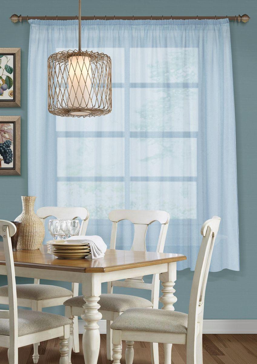 Тюль для кухни KauffOrt Талия, на ленте, цвет: голубой, ширина 285 см, высота 175 см3111600475Штора Kauffort выполнена из ткани - сетка (100% полиэстер). Качественный материал, оригинальный дизайн и контрастная цветовая гамма привлекут к себе внимание и органично впишутся в интерьер помещения. Штора Kauffort великолепно украсит любое окно.Штора крепится на карниз при помощи ленты, которая поможет красиво и равномерно задрапировать верх.