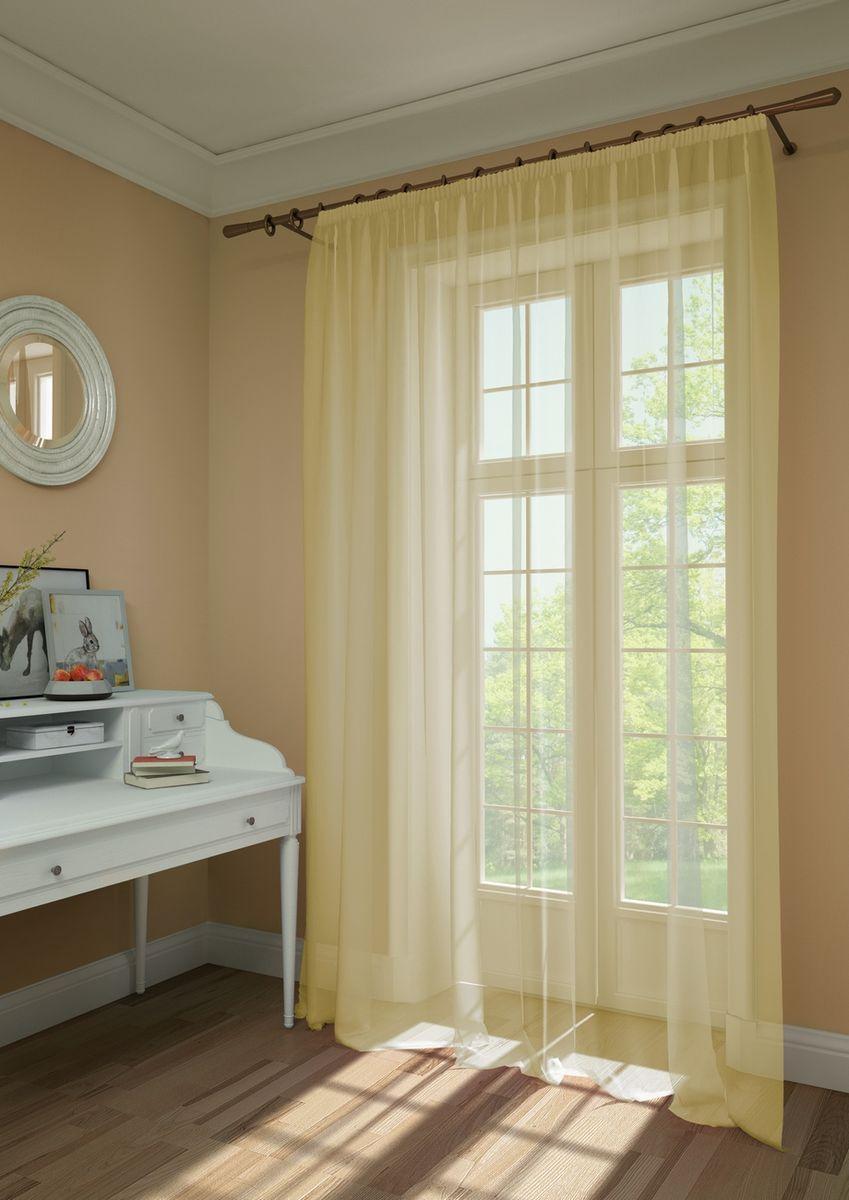 Штора KauffOrt Нелли, на ленте, цвет: желтый, высота 275 см3111720150Штора Kauffort, выполненная из нежной вуали (100% полиэстер), станет великолепным украшением любого окна. Оригинальный дизайн и приятная цветовая гамма привлекут к себе внимание и органично впишутся в интерьер помещения. Штора оснащена шторной лентой для красивой сборки.