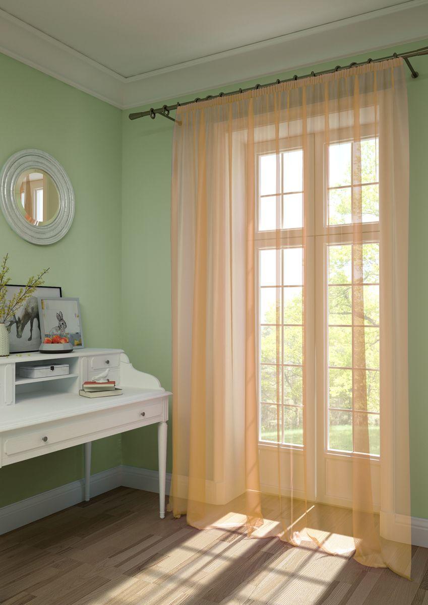 Штора KauffOrt Нелли, на ленте, цвет: оранжевый, высота 275 см3111720156Штора Kauffort, выполненная из нежной вуали (100% полиэстер), станет великолепным украшением любого окна. Оригинальный дизайн и приятная цветовая гамма привлекут к себе внимание и органично впишутся в интерьер помещения. Штора оснащена шторной лентой для красивой сборки.